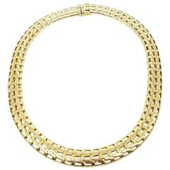 1980s Heavy Yellow Gold Tubular Choker Necklace