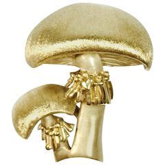 Vintage Yellow Gold Mushroom Brooch Pin