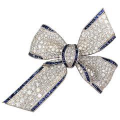 Tiffany & Co. Diamond Sapphire and Platinum Bow Brooch