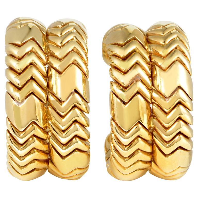 Bulgari Spiga Yellow Gold Clip-On Earrings