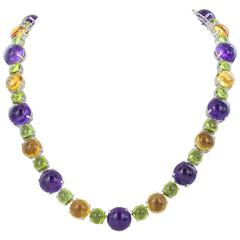 Citrine, Amethyst and Peridot Cabochon Necklace