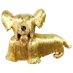 Vintage Terrier Yellow Gold Dog Pin Brooch