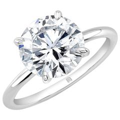 5.68 Carat I/ SI2 GIA Brilliant Cut Diamond Platinum Solitaire Ring