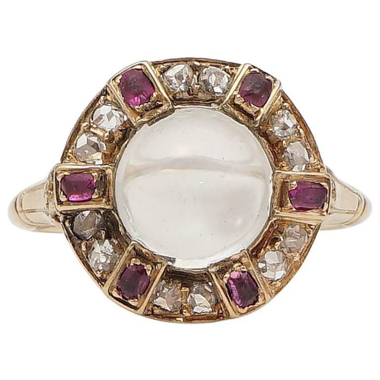 moonstone cut and ruby ring in