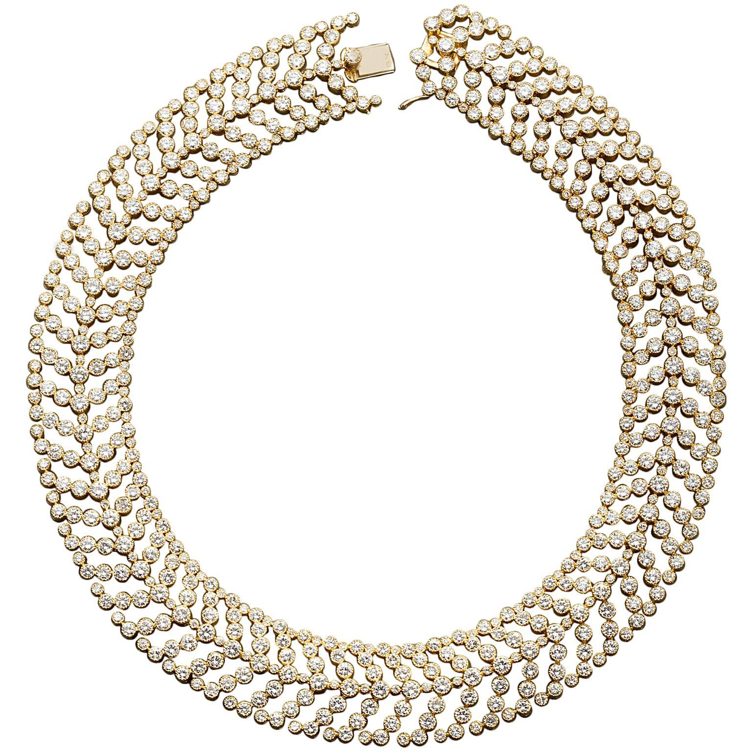 Cartier Paris Vintage Diamond in Gold Choker Necklace