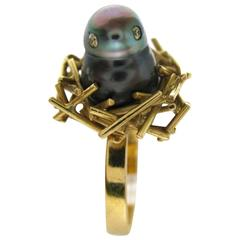 Andrew Grima Pearl and Diamond Chick Ring