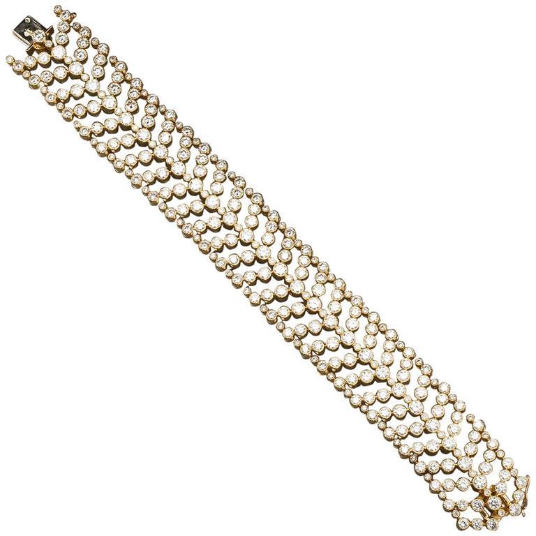 Cartier Paris Vintage Diamond in Gold Wide Bracelet