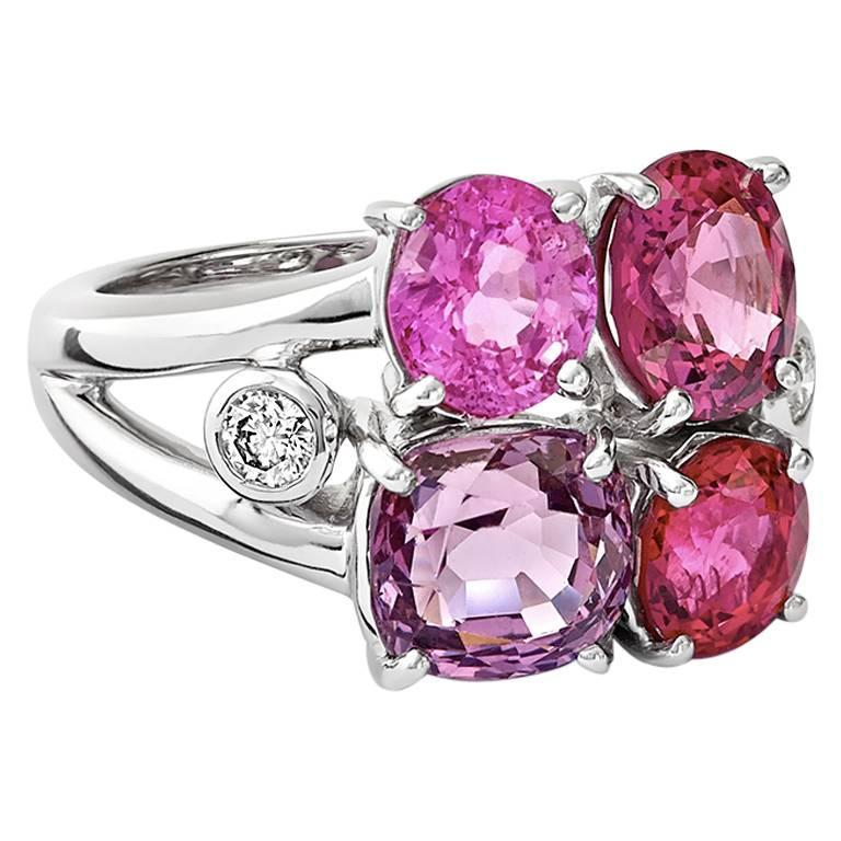Eufemia Quartet Gold, Diamond and Spinel Ring For Sale