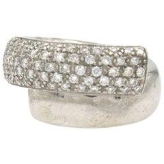 Leo Pizzo Diamond Crossover Wedding Band Ring 18 Karat White Gold