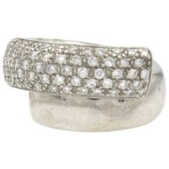 Leo Pizzo Diamond Crossover Wedding Band White Gold Ring