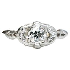 Timeless Design 1920s Diamond Engagement Ring, GIA Certified