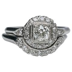 Antique Diamond Bridal Wedding Set 0.78 Carat, GIA Certified