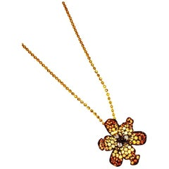 Tiny Lilly Pendant with Gold Chain in Yellow and Orange Sapphire and Diamond