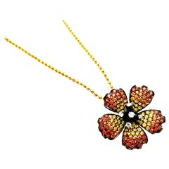 Poppy Flower Pendant with Yellow and Orange Sapphire and Diamond