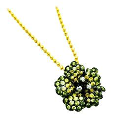 Small Flower Pendant with Yellow, Green Sapphire and Diamond