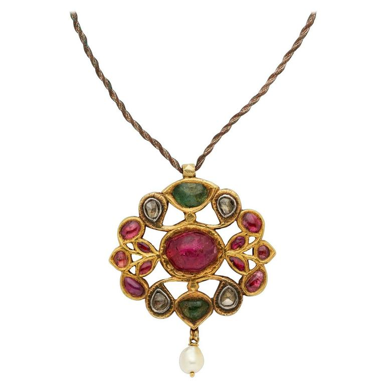 Antique Indian Pendant in Gold with Diamonds, Rubies, Emeralds and Pearl
