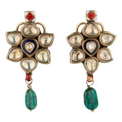 Antique Indian Earrings in Gold with White Sapphire and Emerald Drops