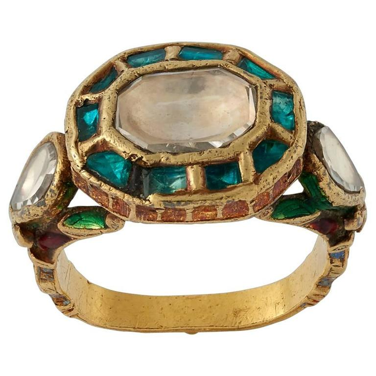 Antique Indian Gold Ring with Diamond and Emerald at 1stdibs