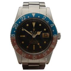 Rolex Stainless Steel GMT-Master 6542 Pepsi with Gloss Gilt Dial Wristwatch