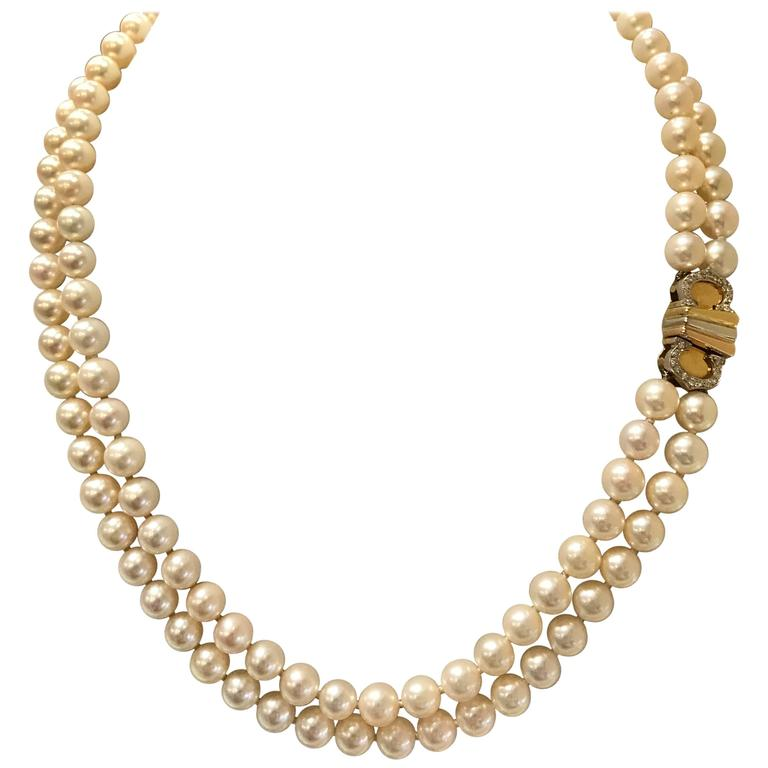 1980's Cartier Double 'C'  Cultured Pearl Necklace