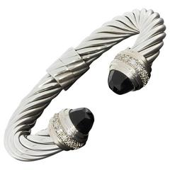 David Yurman Black Onyx and Diamond Cable Classics Cuff Bracelet