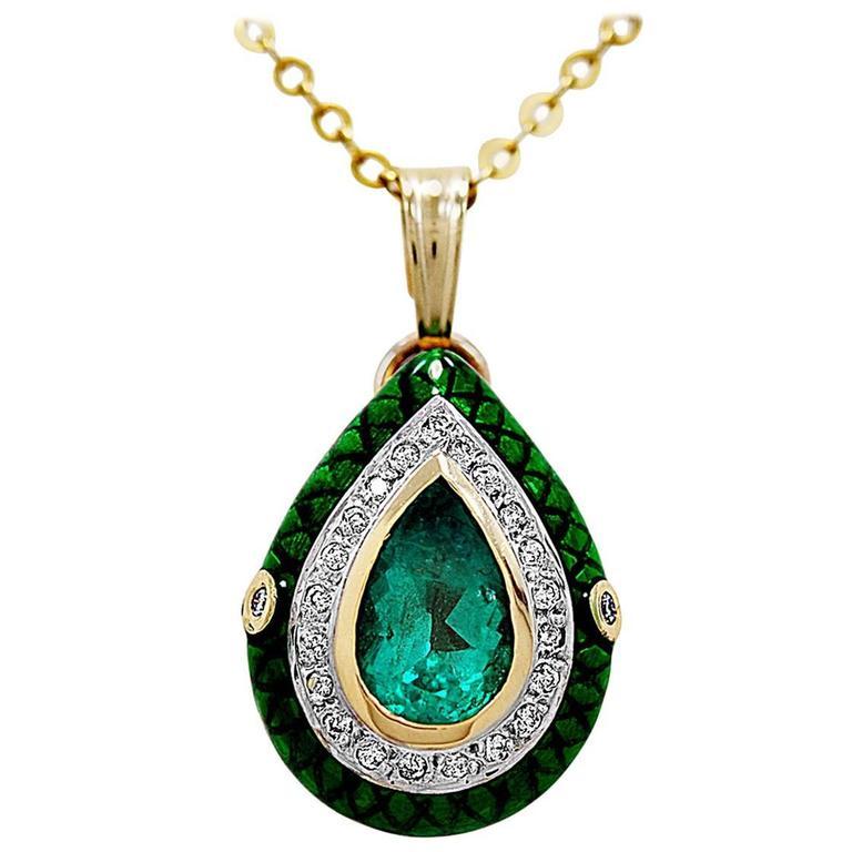 3.00 Carat Natural Emerald, Diamond & White Gold Necklace