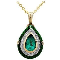 3.00 Carat Natural Emerald, Diamond & White Gold Necklace