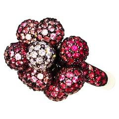 Multi-Color Pink Sapphire, Ruby and Diamond Ball Ring