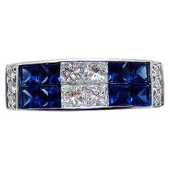 18K White gold invisible Sapphire Ring with Princess Diamond