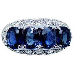 18K White gold Oval Sapphire and Diamond Ring