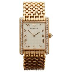 Cartier Tank Paris Rare original diamond set & chequered dial ladies 16121 watch