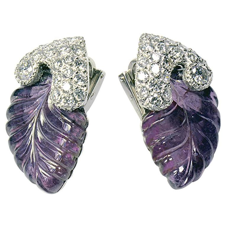 Marion Jeantet Pair of Engraved Tourmalines and Diamonds Ear Clips