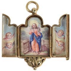 Antique French Triptych Enamel Gold Pendant