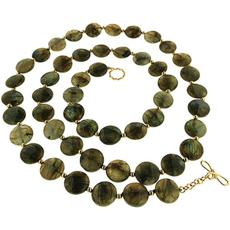 Valentin Magro Labradorite Disk Necklace with Gold Beads For Sale