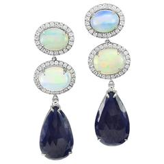 Opal, Blue Sapphire, and Pavé Diamond Earrings in Gold