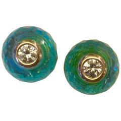 Michael Kneebone Blue Topaz White Sapphire Yellow Gold Stud Earrings