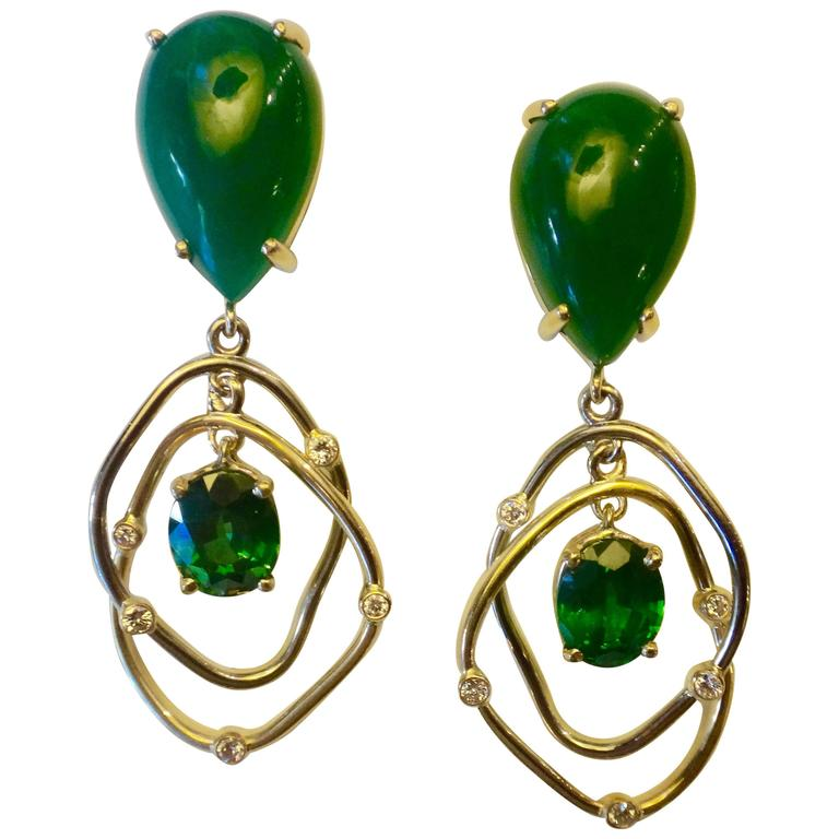Botswana Agate Green Topaz Diamond Yellow and White Gold Kinetic Dangle Earrings 1