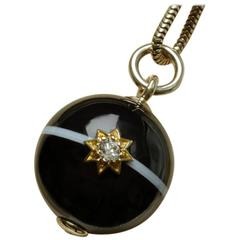 Victorian Banded Agate Diamond Orb Pendant