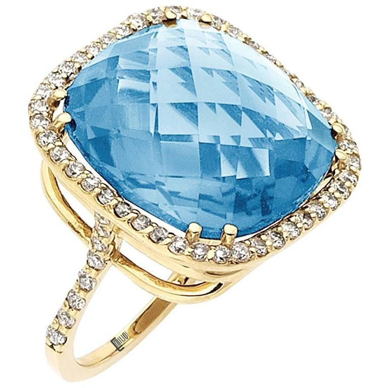 29.00ct Blue Topaz Diamond Ring