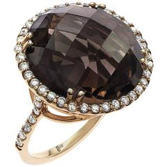 22.00ct T.W. Diamond Smokey Quartz Ring Set