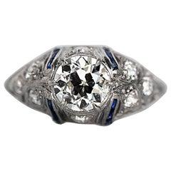 1920s Platinum Art Deco 1.03 Carat Diamond Engagement Ring