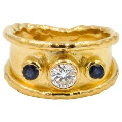 Classic Jean Mahie 22kt Yellow Gold Diamond and Sapphire Ring