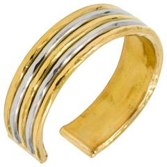 Jean Mahie 22kt Yellow Gold and Platinum Cuff Bracelet