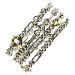 David Yurman Figaro Sterling Silver and 18K Gold 4 Row Cushion Donut Bracelet