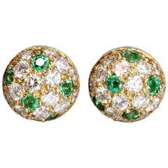 CARTIER Emerald  Diamond  Gold Earrings