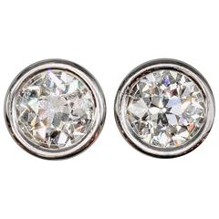 OLD EUROPEAN Cut Diamond  Platinum Stud Earrings