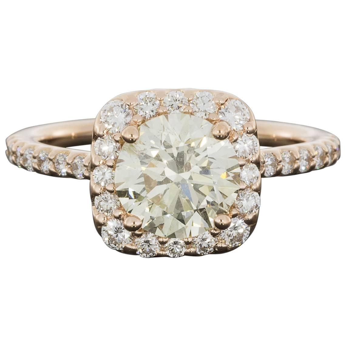 Ritani Rose Gold 2 21 Carats Round Diamond Halo Engagement Ring For Sale at 1