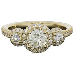 Ritani Gold 1.49 Carat Round Diamond GIA Certified Three-Stone Halo Ring