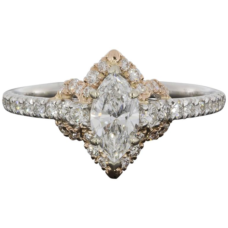 White and Rose Gold Colorless Marquise Diamond Halo Engagement Ring at 1stdibs