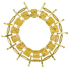 Magnificent Artist Designed Modernist Geometric Gold Collar